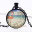 Flamant Tropical Photo dôme en verre noir chaîne collier pendentif en gros