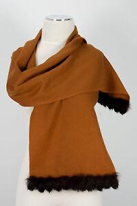 Pashmina-Schal-scarf-100-Cashmere-Kaschmir-Cognac-Kaninchen-Fell-Rabbit-fur