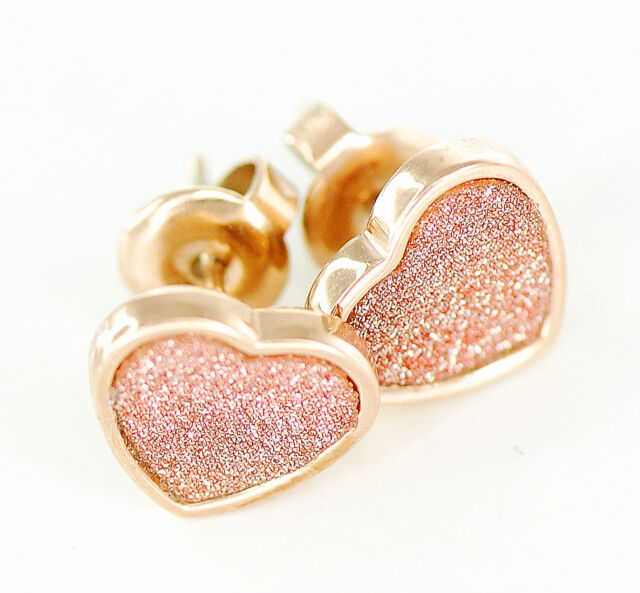 Pair Of Rose Gold Plated On 316l Surgical Steel Heart Glitter Sand Stud Earrings