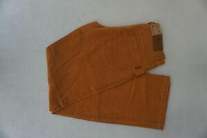 Alberto-Pat-Uomo-Comfort-Fit-Lino-Pantaloni-Jeans-Gr-46-Ca-W32-L34-Arancio-Nuovo