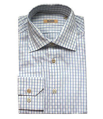 size 45 Pal Zileri Men/'s White Light Purple Cotton Shirt 17.75