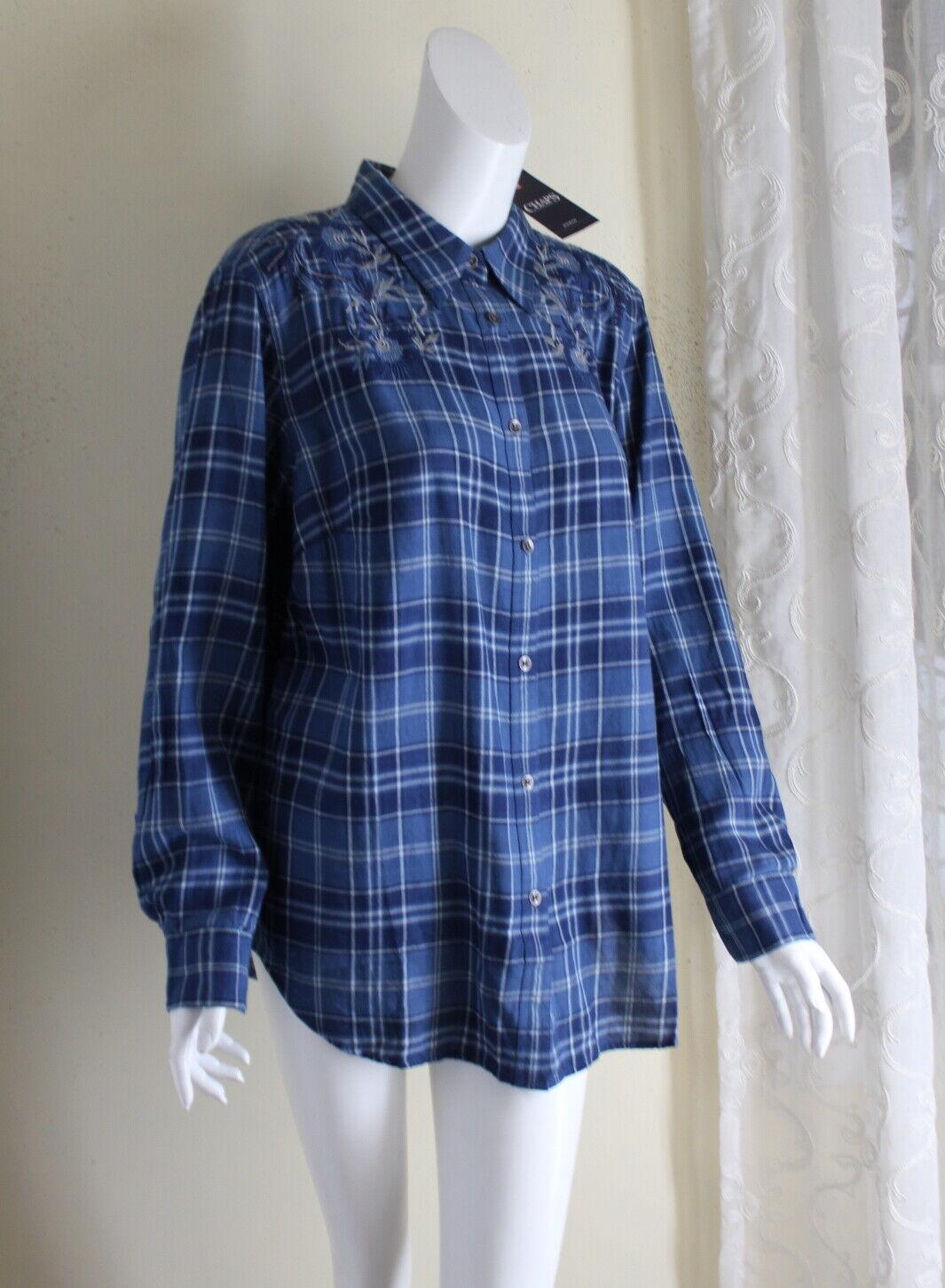 NWT Chaps 1X Fine Blau Embroiderot Folk Boho Artsy Fine Baumwolle Flannel Hemd  76