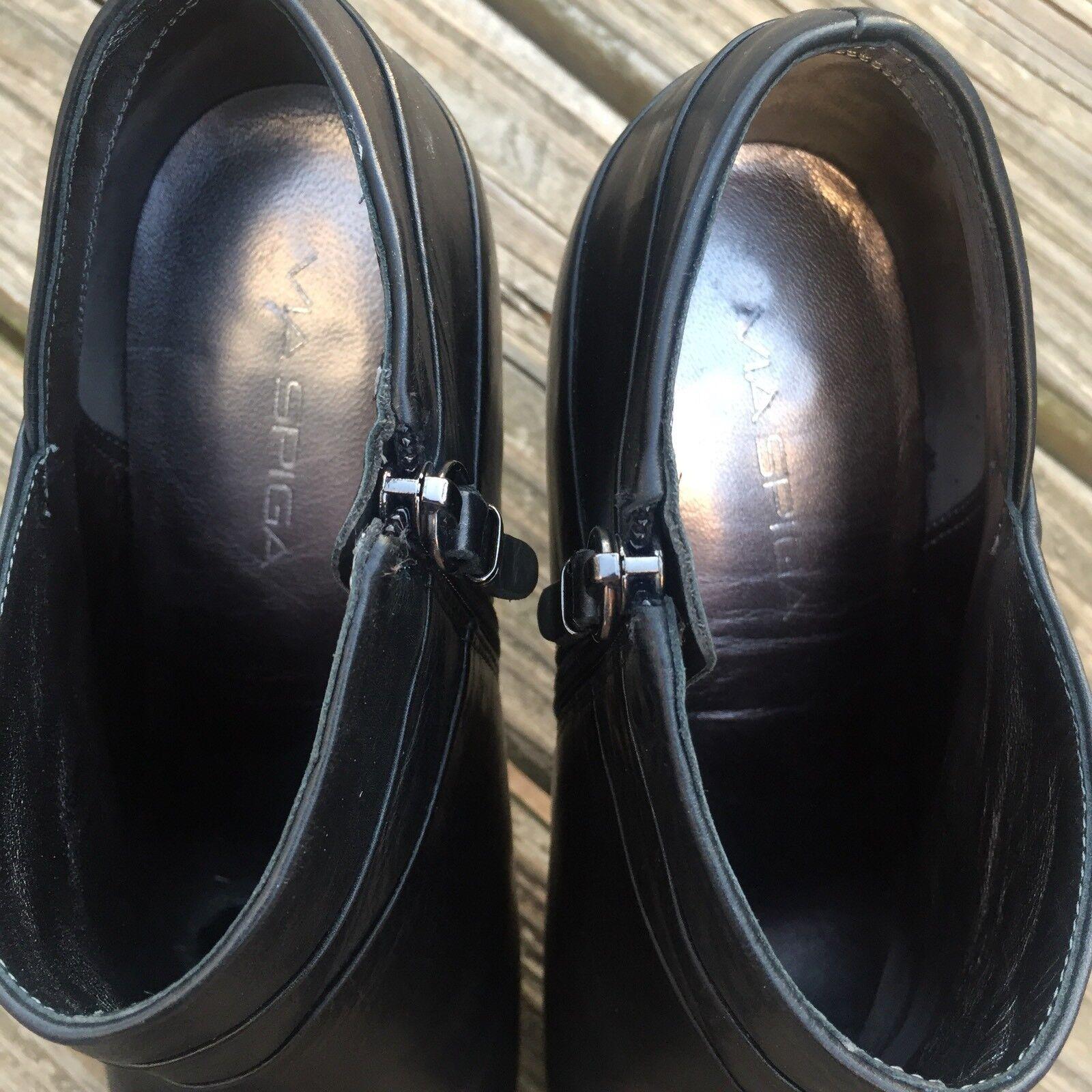 Via Spiga Spiga Spiga Women Black Booties Ankle Boots Leather Heel  Size 8.5 Zip Up EUC c82abd