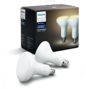 PHILIPS Hue Home LED Flood Light Bulb 65-Watt 800-Lumens White Ambiance (2-Pack)