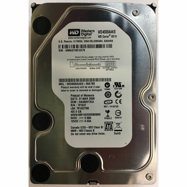 Western Digital 400GB, 7200RPM, SATA - WD4000AAKS-00A7B0