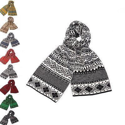67inch Men Unisex Warm Winter Long Scarf Shawl Wrap Stripe Plaid Knitted Acrylic