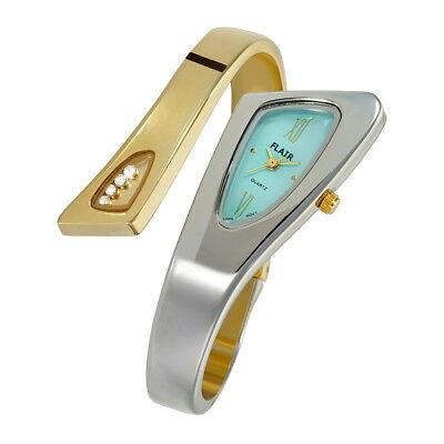 Top Edle Flair Designer Damenuhr Spangenuhr Gold Türkis Armbanduhr Uhr #20025