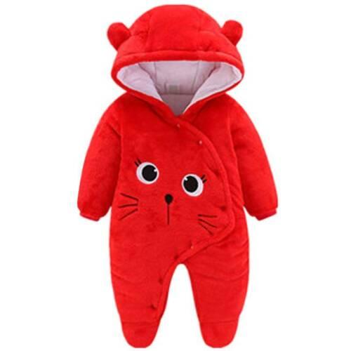 Newborn Baby Boys Girls Hooded Romper Fleece Teddy Bear Winter Jumpsuit Bodysuit