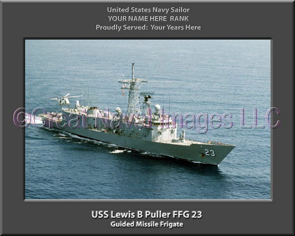 USS Lewis B Puller FFG 23 Personalized Canvas Ship Photo Print Navy Veteran Gift