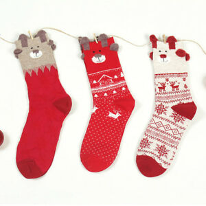 Colorful Cotton Christmas Reindeer Ankle Socks 10 Pairs - Two of Each Style