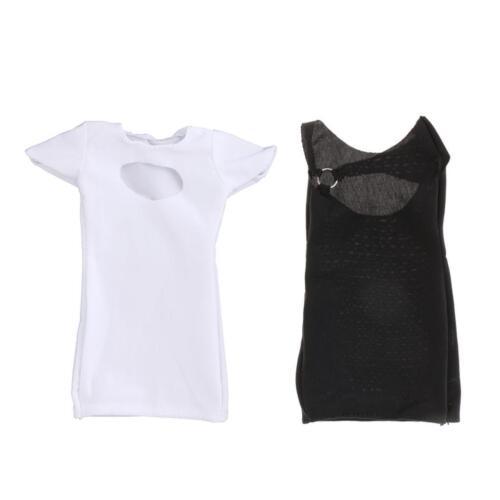 2 Pièces 1//6 Echelle Robe Blanc Noir en Tissu Ornement Pour 12/'/' Figurine