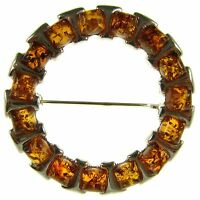 Baltic Amber Sterling Silver 925 Ladies Brooch Pin Jewellery Jewelry Gift Box