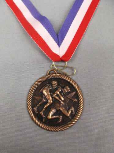 "bronze star WRESTLING medal partiotic neck drape trophy 2/"" diameter"