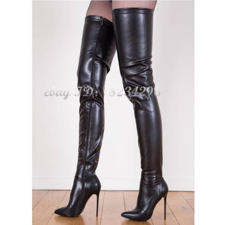 Sexy Stilettoabsatz Overkneestiefel Damen Stiefel High Heels Stiefel Schuhe Spitz