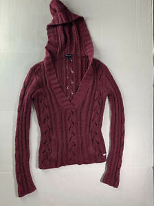 NWT American Eagle Open Knit Hooded Cardigan Sweater S Burgundy