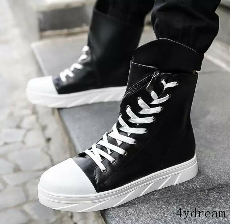 Men Fashion Lace up High top Ankle Boots Zip Sneakers Casual Board shoes Flats