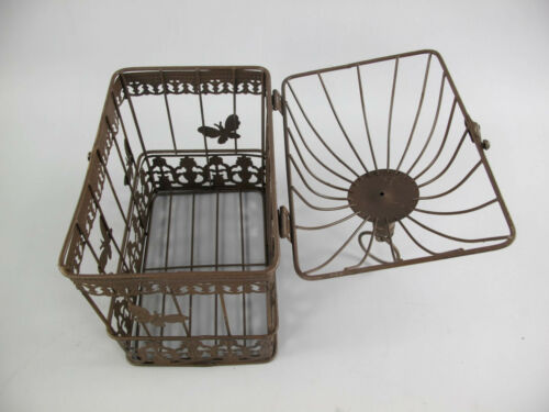 Antik Deko Vogelkäfig aus Metall Pflanzkäfig Blumenkäfig Käfig rustikalbraun g