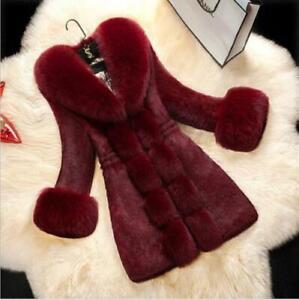 Womens-Luxury-Furry-Faux-Fur-collar-Sleeve-Long-Coat-Winter-Warm-Parka-Outwear-A