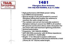 DUAL BAND HAM RADIO BASE ANTENNA TRAM 1481  144/444 HI GAIN 8.3V/11.7U 3 YR WARR