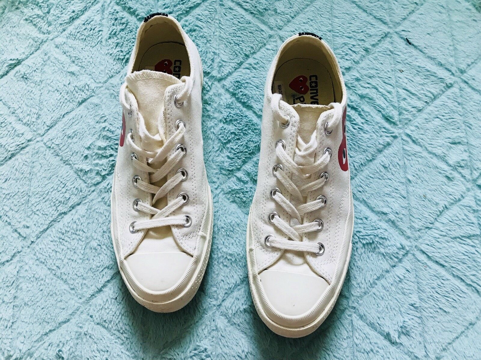 Converse Comme des Garcons CDG CDG CDG Play White Low Top 7 Uomo's/ 9 Donna's 727346