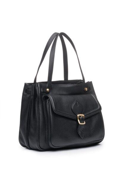 Nwt Annabel Ingall Australia Dominic Leather Satchel Handbag Black Gold