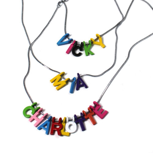 Colourful Letters PERSONALISED NAME NECKLACE Silver chain for kids//children