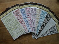 RECOLLECTIONS GLITTER ALPHABET STICKERS 2 SHEETS PER PACK YOU CHOOSE COLOUR