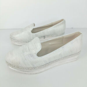 Forever-Folie-Loafers-Women-Size-38-Cream-Silver