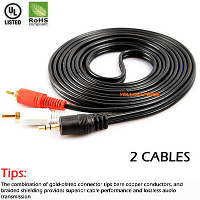 Shielded 6//12//16FT 3.5mm to 2RCA Male Audio Auxiliary Aux Stereo Cable Cord lot