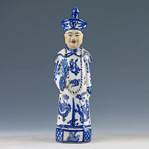 Chinese-Blue-amp-White-Porcelain-Hand-painted-Emperor-Qianlong-Statue