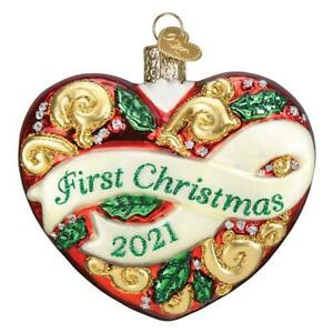 Old World Christmas 2021 FIRST CHRISTMAS HEART (30061)N Glass Ornament w/ OWC Bx