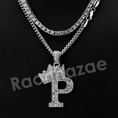 """Iced Silver Crown P Initial Pendant  w// 24/"""" Cuban Tennis Chain Necklace"""