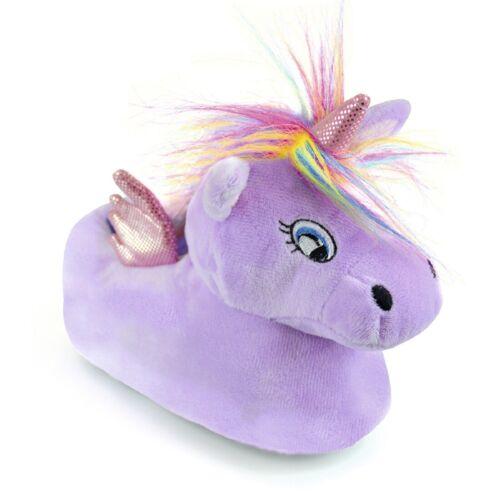 Childrens Girls Novelty Lilac Unicorn Slippers
