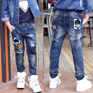 IENENS Child Boy Casual Jeans Clothes Kids Boy Fashion Denim Solid Long Pants