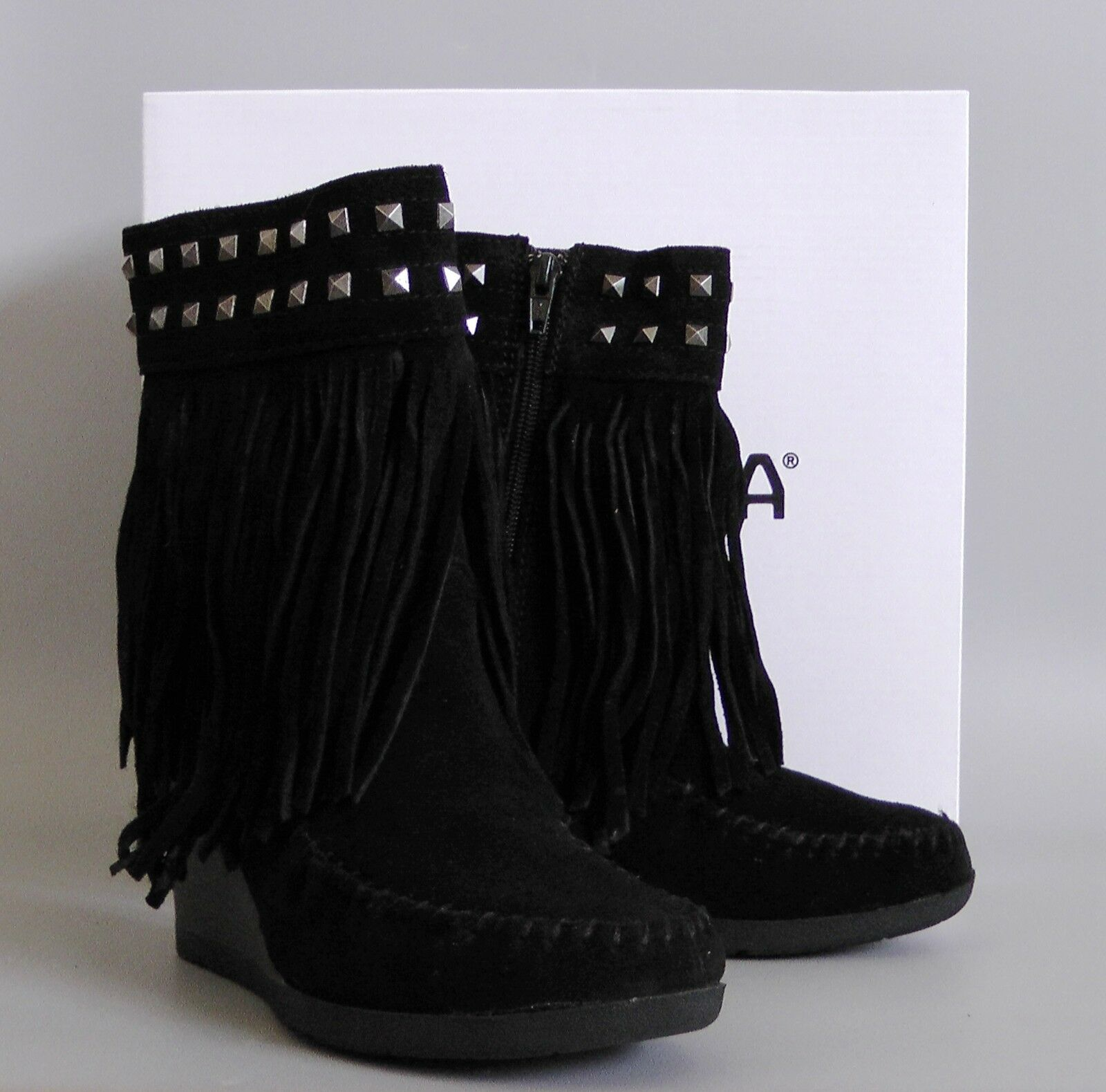 New with with with Box MINNETONKA Mid-Calf Fringe Boots shoes, black, US 7.5 c1b631