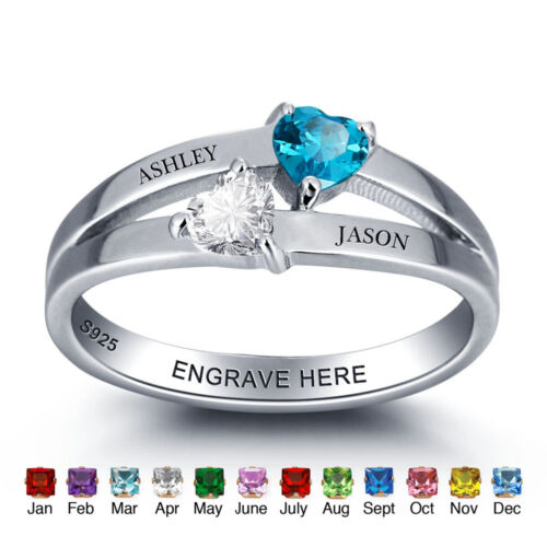Customised 925 Silver Name Ring 2 Hearts Birthstone Love Ring For Birthday Gifts