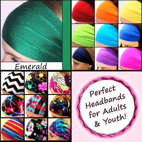 School Colors Headbands for Youth Teams Sports Dance Group Squad Cheer Emerald