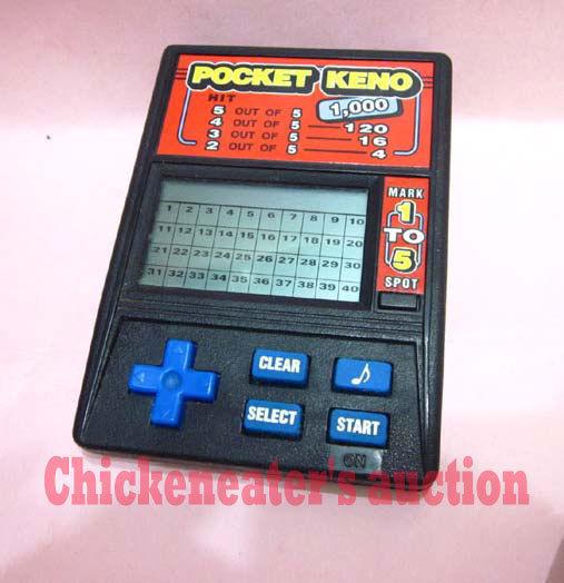 RADICA KENO ELECTRONIC LCD HANDHELD GAME POCKET MARK 1 to 5 SPOT WORKS