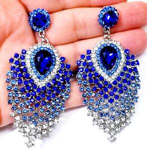 Ombre-Blue-Chandelier-Earrings-Rhinestone-Austrian-Crystal-3-1-in