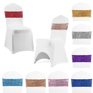 Spandex Stretch Sequin Chair Sashes Covers White Flat Arched Front Wedding Ebay