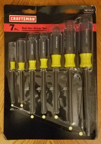 NEW CRAFTSMAN ALLEN HEX BALL END SCREWDRIVER 7 SET 41117 MADE IN USA