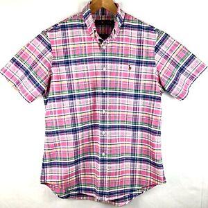 Ralph-Lauren-Pink-Blue-Green-Mens-Plaid-Button-Short-Sleeve-Shirt-L-Free-Ship