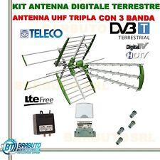 KIT ANTENNA COMBO TV DIGITALE TERRESTRE 32dbLTE TELECO+AMLIFICATORE+ALIMENTATORE
