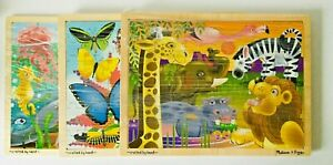 Details About 3 Melissa Doug 24 Piece Wooden Tray Jigsaw Puzzles Jungle Sea African Plains