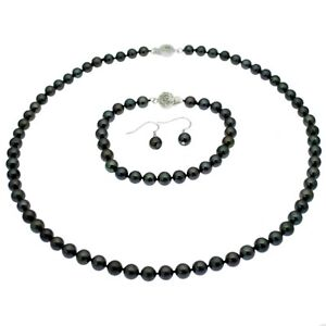 Pearl Necklace Bracelet Earring Set Sterling Silver Black Round Pearls
