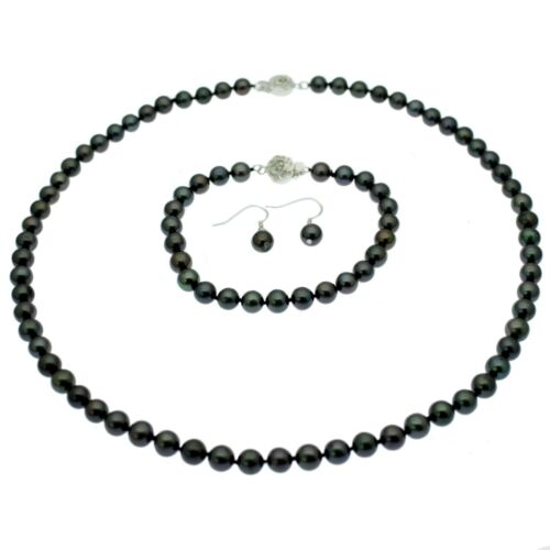 Black Pearl Necklace Bracelet Earring Set Sterling Silver Round Cultured Pearls