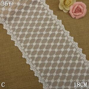 1Yard-Pretty-Delicate-Cotton-Embroidered-Tulle-Lace-Trim-White-7-1-4-034-Wide