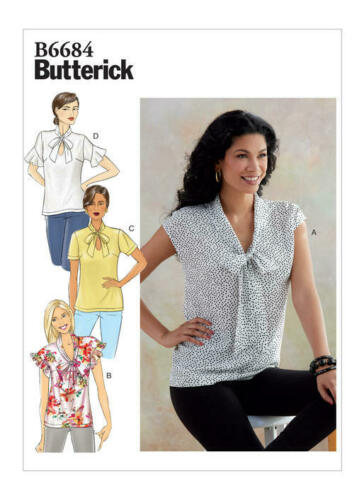 Butterick 6684 Sewing Pattern to MAKE Easy Misses/' Pullover Tops w//Tie Collar