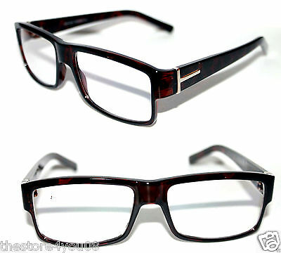 Men's Eye Glasses Clear Lens Square Dark Brown Frame Silver TF Ford Designer 482