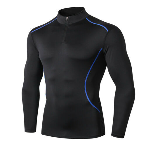 Mens Long Sleeve Mock Neck T-Shirt Baselayer Cool Dry Compression Top Breathable